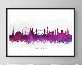 London Skyline, London Cityscape England, Art Print, Wall Art, Watercolor, Watercolour Art Decor [SWLDN08]