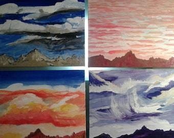Set of 4 Desert Skys clouds sunset sunrise storm original thunder lightning silouitte purple orange yellow blue