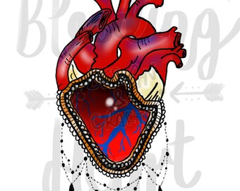 Neo traditional anatomical heart print in frame.
