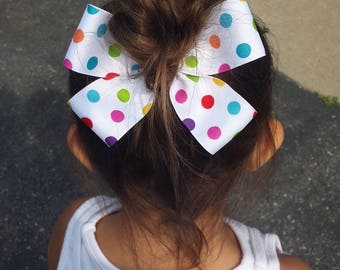 Multicolored polka dot Hair Bow