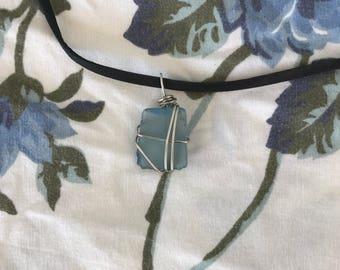 Blue Sea Glass Wrap Necklace
