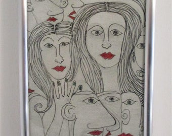 Original line drawing 'The crowd' no 1 by Alfred Halliday Art