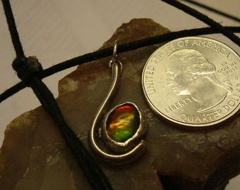 Ammolite Mens Necklace Sterling Silver OOAK Fishing Hook Utah Gem Statement Jewelry Necklace Red Yellow Green Fire 003G