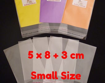 100 Cellophane Bags - Self Seal - 5 cm x 8 cm +3 cm lip - 40 micron thickness