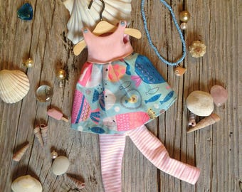 Blythedoll, Rurukodoll, liccadoll,  outfit, dress and leggings for 1/6 scale doll
