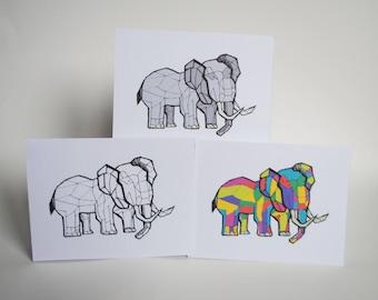 Geometric Elephant - Set of 3