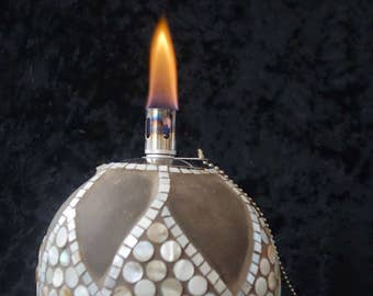 "Oil lamp ""La Sagrada"", hand getoepfert with mother of pearl mosaic tiles and stainless steel insert"