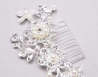 Silver Hair Comb, Bridal Hair Comb, Wedding Hair Comb, Silver Hairpiece, Wedding Hairpiece, Bridal Hairpiece, Hair Accessory