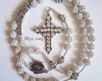 Bridal crystal rosary, handmade swarovski cross