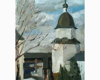 Original Oil Painting Landscape Church Orthodox Gift Painting for sale Wall Art Home decor Interior art Gift for Mother