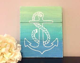 Nautical Wooden Sign, Anchor Wooden Sign