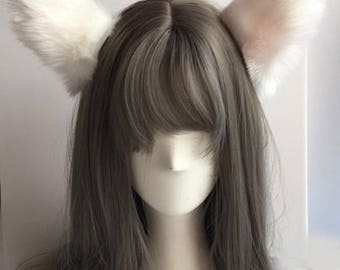 Cute Lovely Cosplay Cat Ears White with Pink Colour