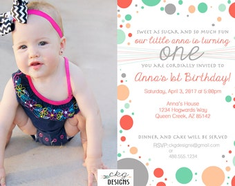 Polka Dot First Birthday Invitation, First Birthday Invitation Girl, First Birthday Invitation Photo Girl, Photo First Birthday Invitation