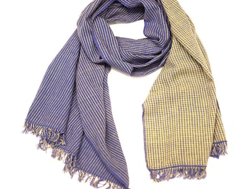 Checkered Scarf- Blue and Yellow