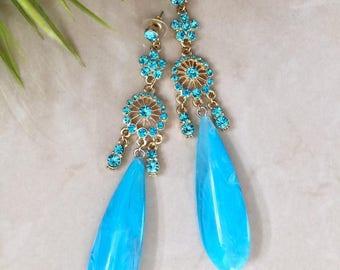 Ocean Blue Crystal Chandelier earrings, Teardrop Earrings,Prom Earrings, Wedding Bridesmaid earrings, Gift for Her