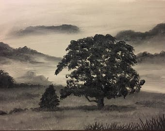 Foggy morning oil painting