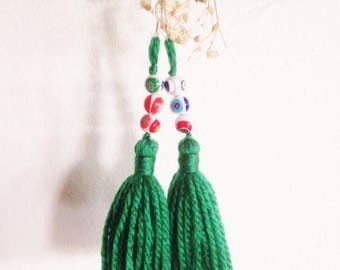 Porcelain Tassels Earrings (Green)