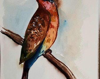 Watercolor Painting, Small art, Original bird art, Blue Bird, Watercolor Bird, Original art, 7x5 art, Art work, One of a kind, Bee Eater