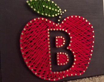 String Art-- Teacher Gift Apple with Initial