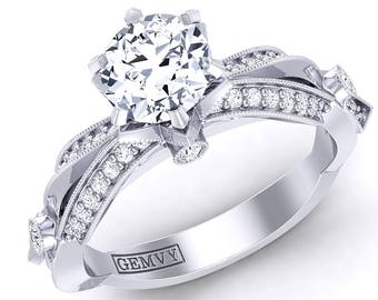 Flower Inspired Diamond Engagement Ring