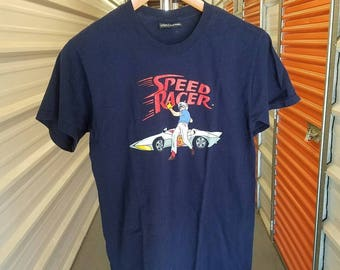 Vintage Throwback 90's Speed Racer Cartoon T-Shirt. Men's Size Small