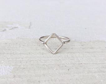 Triangle design silver ring