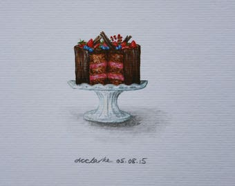 Cake Watercolour Painting