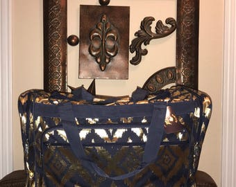 Duffle Bag IKAT Gold and Navy