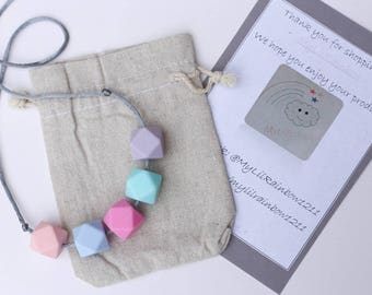Teething Necklaces 'Love Hearts', Sensory Silicone Necklace, Breastfeeding Necklace, Teething Jewellery, New Mum Present
