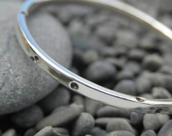 Sterling Silver Bangle with Black Polka Dot Detail