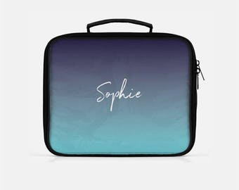 Ombre Lunch Box, Blue Lunch Box, Monogram Lunch Bag, Gradient Lunch Box, Cute Lunch Box, Reusable Lunch Bags, Personalized Gift