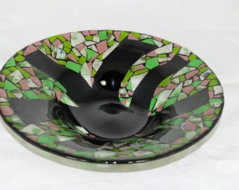 Large Fused Glass Mosaic Bowl