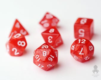 Red Pearl Polyhedral 7-Die Set - Red Dice Set With Velvet Dice Bag - DnD Dice - Dungeons and Dragons Dice - Red Pearl (KD0008)
