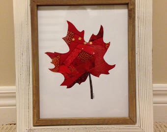 Framed Canadian Maple Leaf Fabric Wall Art