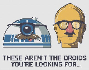 These aren't the droids you're looking for, Star Wars C3PO and R2D2 cross-stitch pattern