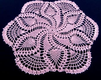 New pink crochet doily