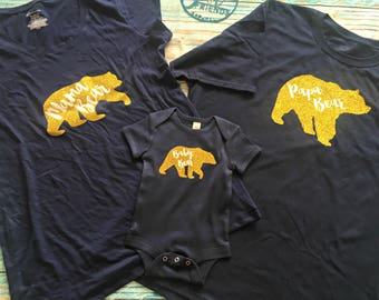Bear Family Picture T-Shirts Mama Momma Mommy Papa Daddy Dad Baby Shower Gift