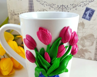 Polymer Clay Tulips Bouquet Coffee Mug Flowers Unique Gifts Tea Cups