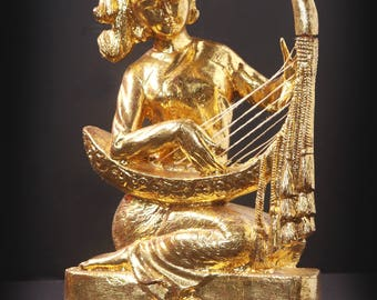 Harp Musician - Wood and Gold Lacquer