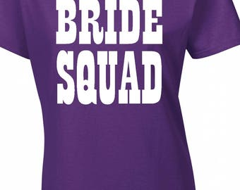 Bride squad,hen party t-shirt,can be personalised free of charge ,purple and white