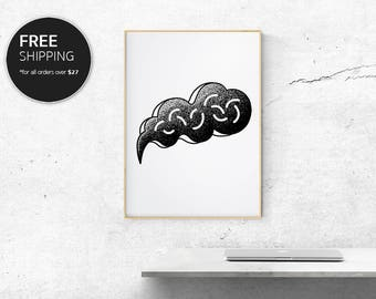 Abstract Print Art Black Modern Street Stencil Contemporary Interior Design Wall Decor by Blacklinebar