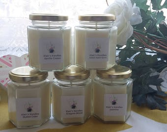 Green Clover & Aloe scented candle, natural wax, handmade by Klairs Kandles