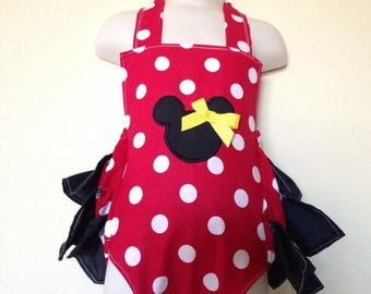 Romper,minnie,sunsuit, boutique, nb, 3,6,9,12,24 months, 2,3t