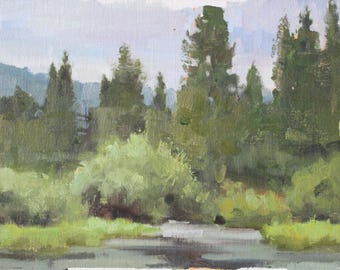 Cool Cloudy Marsh Impressionist Landscape Painting Plein Air Overcast Day Impressionist Landscape Painting Pine Trees Realist Impressionist