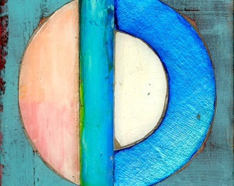 Large Blue Orbit No. 1 assembled painting with resin finish by Matthew Finger