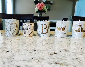 SET OF 10 CANDLES-Genuine-Birch Engraved Candles- (completely custom and personalized to your liking) Pefect for wedding centerpieces!