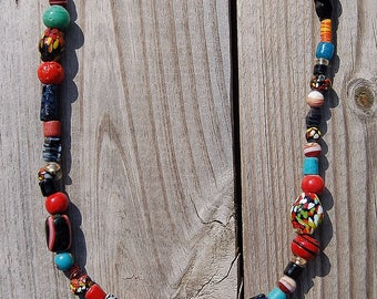 Red Multi-Colored Glass Necklace