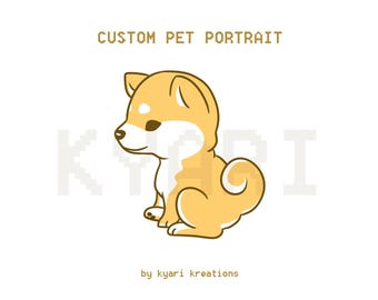 Custom Pet Portrait Commission and Stickers by Kyari Kreations