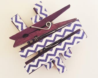 Purple & White Chevron Glitter Decorative Clothespins