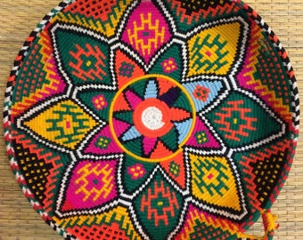 Moroccan Fruit Tray (Green/Pink/Yellow) - Handmade